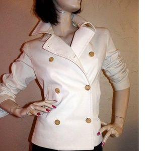 Theory White Cotton Double Breasted Blazer Size L